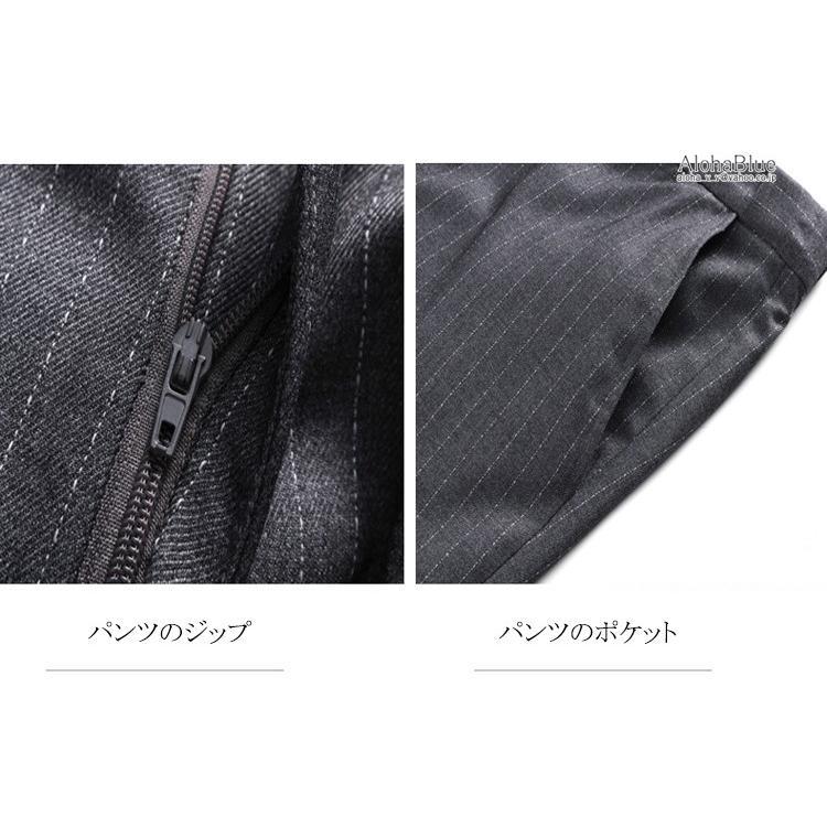 ダブルスーツ メンズ 3ピーススーツ 6つボタン スリーピース スリーピー ビジネススーツ ストライプ柄 細身 スーツ 通勤 紳士 aloha0118 17