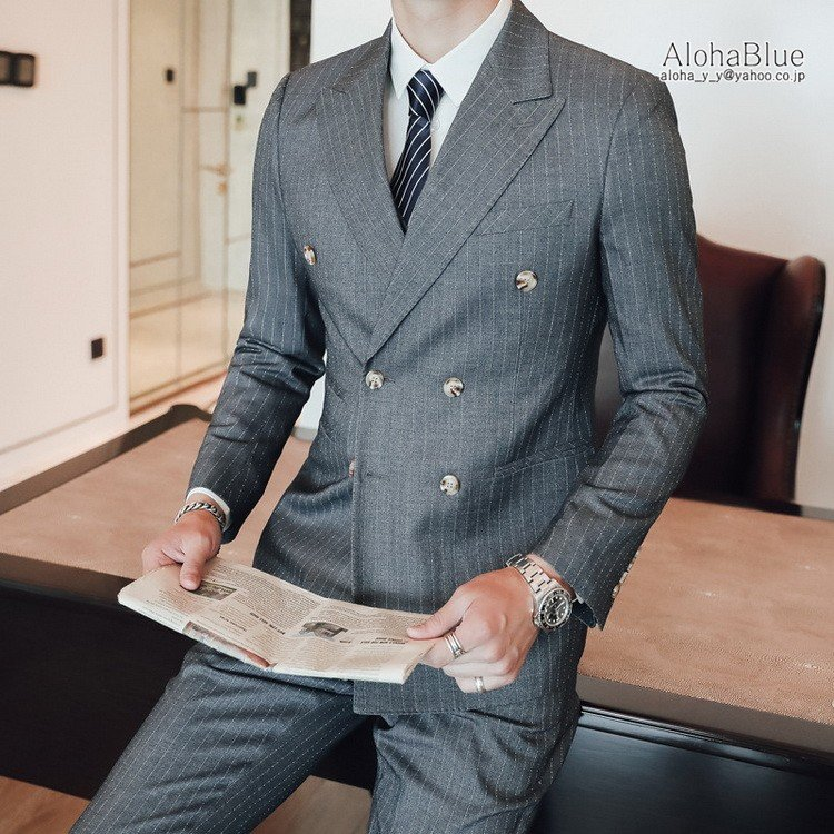 ダブルスーツ メンズ 3ピーススーツ 6つボタン スリーピース スリーピー ビジネススーツ ストライプ柄 細身 スーツ 通勤 紳士 aloha0118 20