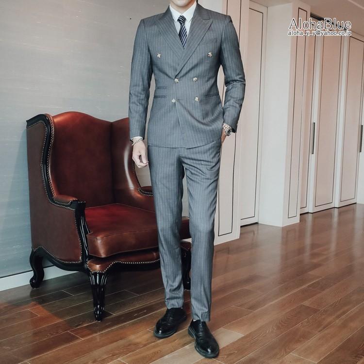 ダブルスーツ メンズ 3ピーススーツ 6つボタン スリーピース スリーピー ビジネススーツ ストライプ柄 細身 スーツ 通勤 紳士 aloha0118 21