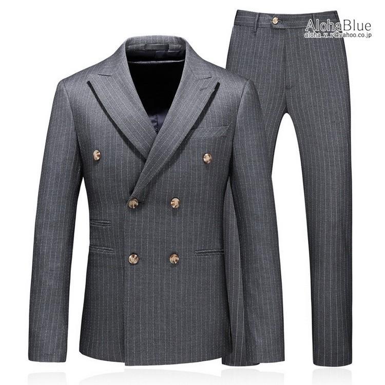 ダブルスーツ メンズ 3ピーススーツ 6つボタン スリーピース スリーピー ビジネススーツ ストライプ柄 細身 スーツ 通勤 紳士 aloha0118 06