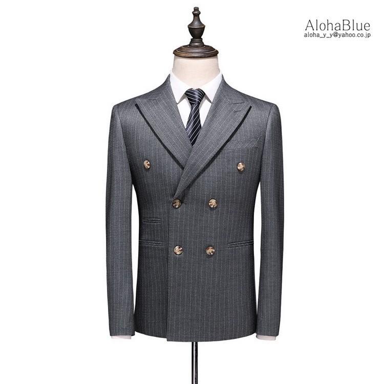 ダブルスーツ メンズ 3ピーススーツ 6つボタン スリーピース スリーピー ビジネススーツ ストライプ柄 細身 スーツ 通勤 紳士 aloha0118 08