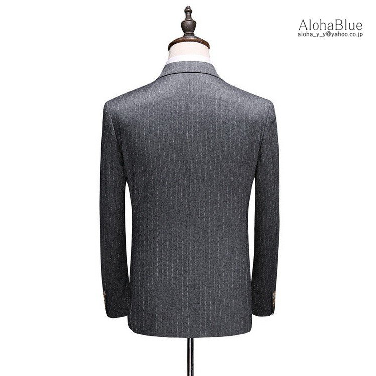 ダブルスーツ メンズ 3ピーススーツ 6つボタン スリーピース スリーピー ビジネススーツ ストライプ柄 細身 スーツ 通勤 紳士 aloha0118 09
