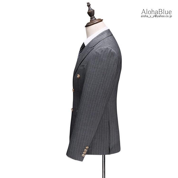 ダブルスーツ メンズ 3ピーススーツ 6つボタン スリーピース スリーピー ビジネススーツ ストライプ柄 細身 スーツ 通勤 紳士 aloha0118 10