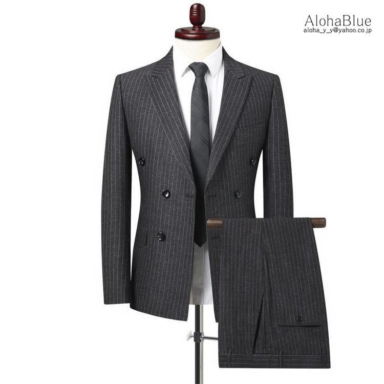 ダブルスーツ メンズ セットアップ 2ピーススーツ 6つボタン ビジネススーツ ストライプ柄 スーツ 秋夏 結婚式 礼服 紳士 aloha0118