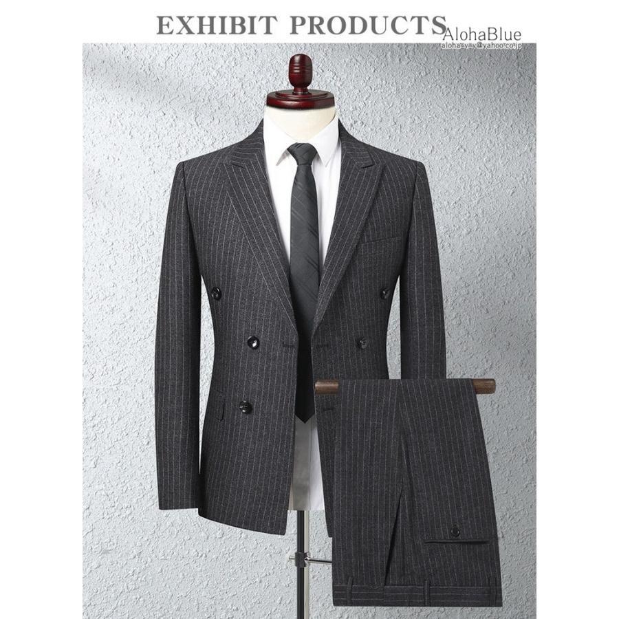 ダブルスーツ メンズ セットアップ 2ピーススーツ 6つボタン ビジネススーツ ストライプ柄 スーツ 秋夏 結婚式 礼服 紳士 aloha0118 03