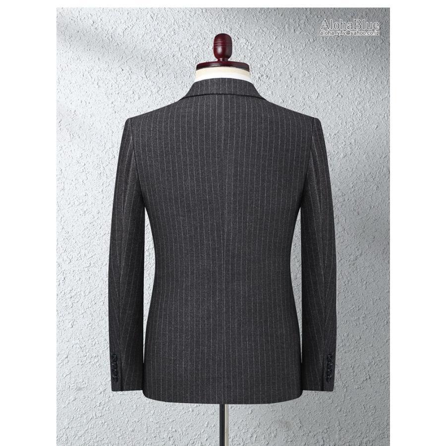 ダブルスーツ メンズ セットアップ 2ピーススーツ 6つボタン ビジネススーツ ストライプ柄 スーツ 秋夏 結婚式 礼服 紳士 aloha0118 04
