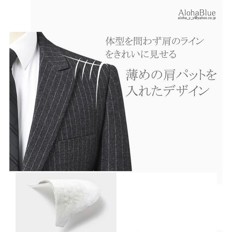 ダブルスーツ メンズ セットアップ 2ピーススーツ 6つボタン ビジネススーツ ストライプ柄 スーツ 秋夏 結婚式 礼服 紳士 aloha0118 05