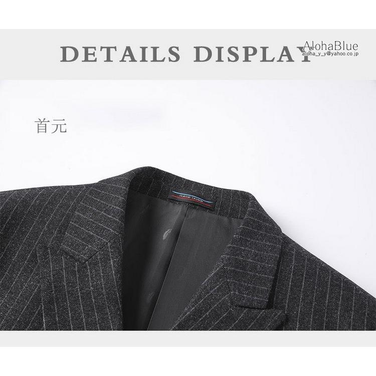 ダブルスーツ メンズ セットアップ 2ピーススーツ 6つボタン ビジネススーツ ストライプ柄 スーツ 秋夏 結婚式 礼服 紳士 aloha0118 07