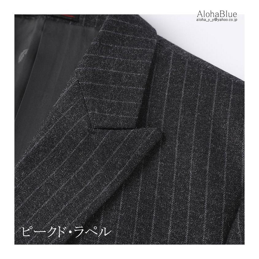 ダブルスーツ メンズ セットアップ 2ピーススーツ 6つボタン ビジネススーツ ストライプ柄 スーツ 秋夏 結婚式 礼服 紳士 aloha0118 08