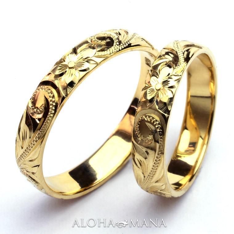 ハワイアンジュエリーペア結婚指輪マリッジリングペアk14k18プラチナゴールドバレルゴールドリングONLYONE|alohamana