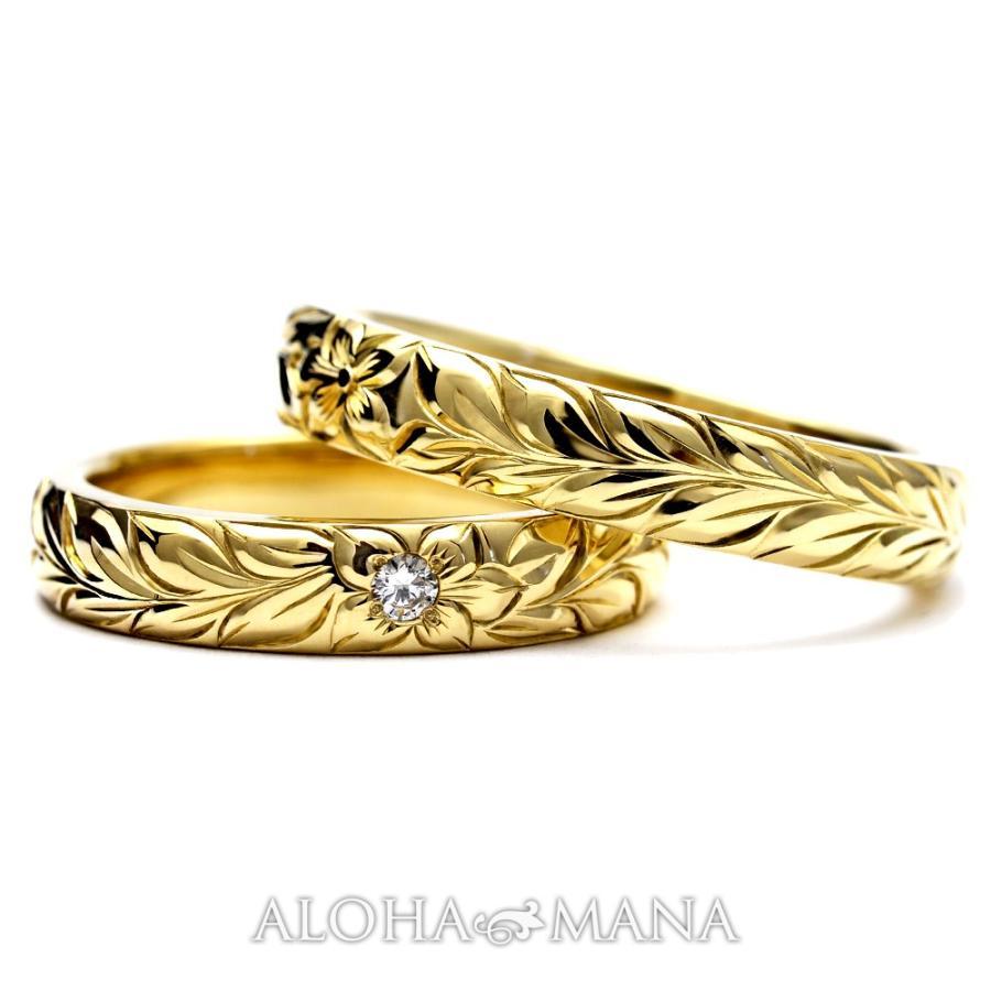 ハワイアンジュエリーペア結婚指輪マリッジリングペアk14k18プラチナゴールドバレルゴールドリングONLYONE|alohamana|02