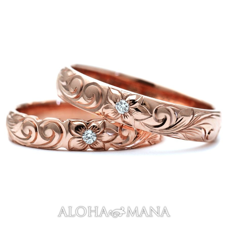 ハワイアンジュエリーペア結婚指輪マリッジリングペアk14k18プラチナゴールドバレルゴールドリングONLYONE|alohamana|03