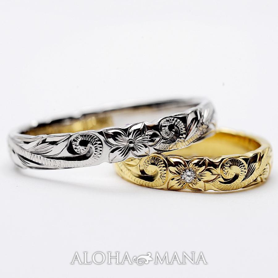 ハワイアンジュエリーペア結婚指輪マリッジリングペアk14k18プラチナゴールドバレルゴールドリングONLYONE|alohamana|05