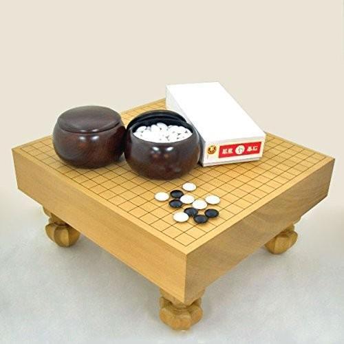囲碁セット 新桂3寸足付碁盤竹と赤ラベル碁石·銘木大碁笥