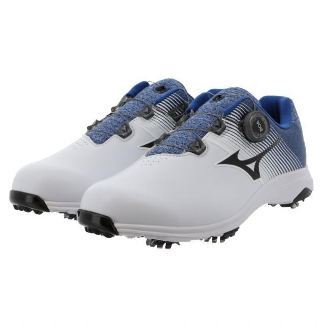 爆売りセール開催中 ミズノ ゴルフシューズ 休日 ネクスライト 軽量 007 Boa 51GM201022 メンズ ホワイト×ブルー ゴルフ ダイヤル式スパイクシューズ MIZUNO 3E