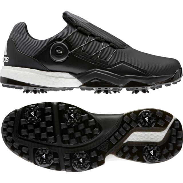 アディダス ゴルフシューズ 大幅値下げランキング パワーラップ ボア HJ119 メンズ adidas ゴルフ 最新号掲載アイテム : ブラック 3E ダイヤル式スパイクシューズ