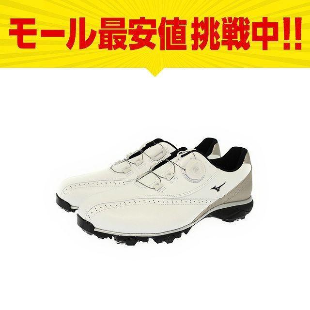 ミズノ WIDE STYLE 002 Boa 51GQ174050 ダイヤル式 ゴルフシューズ ソフトスパイク ホワイト×ゴールド メンズ ゴルフ MIZUNO