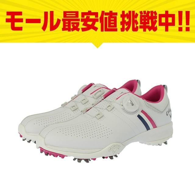 キャロウェイ ゴルフシューズ レディース 18Lシューズ AEROSPORT BOA WM 18 レディース ゴルフ ダイヤル式スパイクシューズ 3E : ホワイト×ピンク Callaway