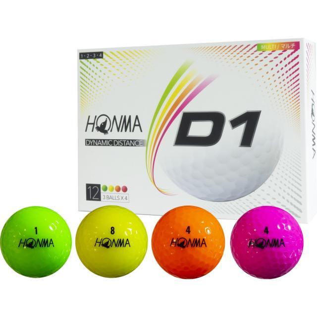 ギフ_包装 ホンマ ゴルフボール New D1 マルチカラー リニューアルモデル BT2001L HONMA 訳あり品送料無料 公認球 ゴルフ 12球入 LOWナンバー 1ダース