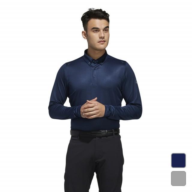 アディダス ゴルフ 長袖シャツ climaliteスクエアプリント 長袖ボタンダウンシャツ (EJ7289) メンズ ネイビー adidas