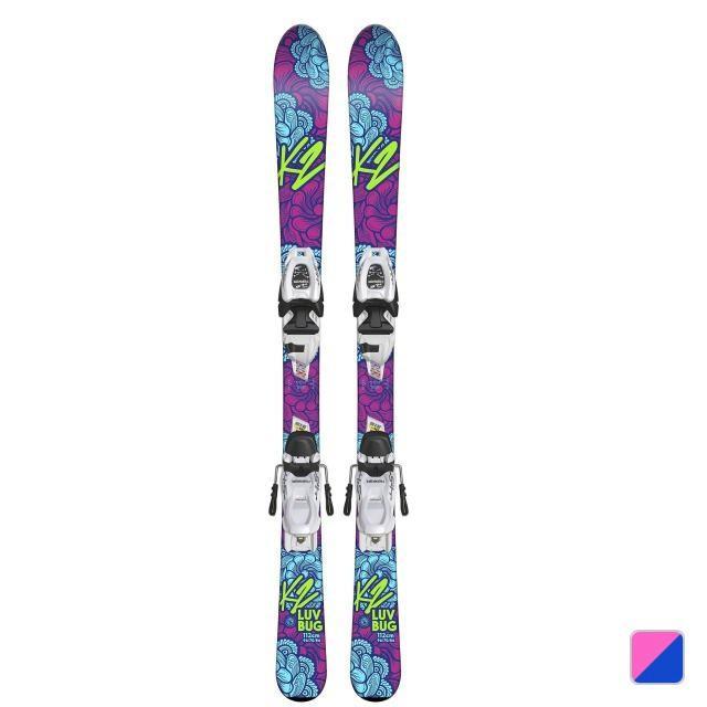 K2 ジュニア スキー 板 LUV BUG JR (K2+ラヴバグ 136) ピンク×ブルー ビンディング付