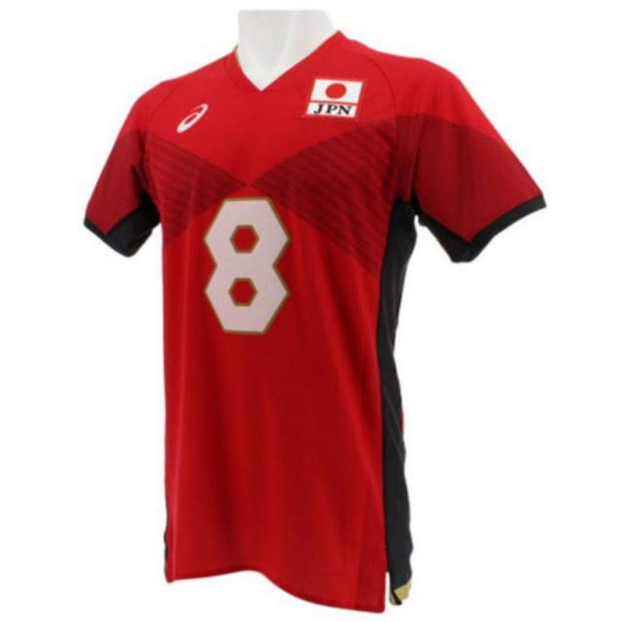 アシックス メンズ バレーボール 半袖プラクティスシャツ 全日本男子ユニフォーム VRDxヤナギダ (2051A002) asics