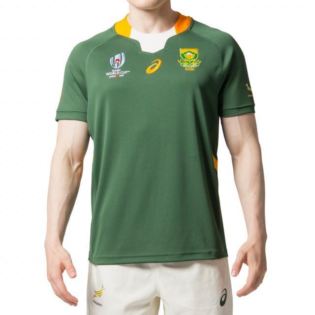 アシックス 南アフリカ代表 スプリングボクス RWC2019 ホームジャージ メンズ ラグビー 半袖シャツ レプリカジャージ (2111A167) asics