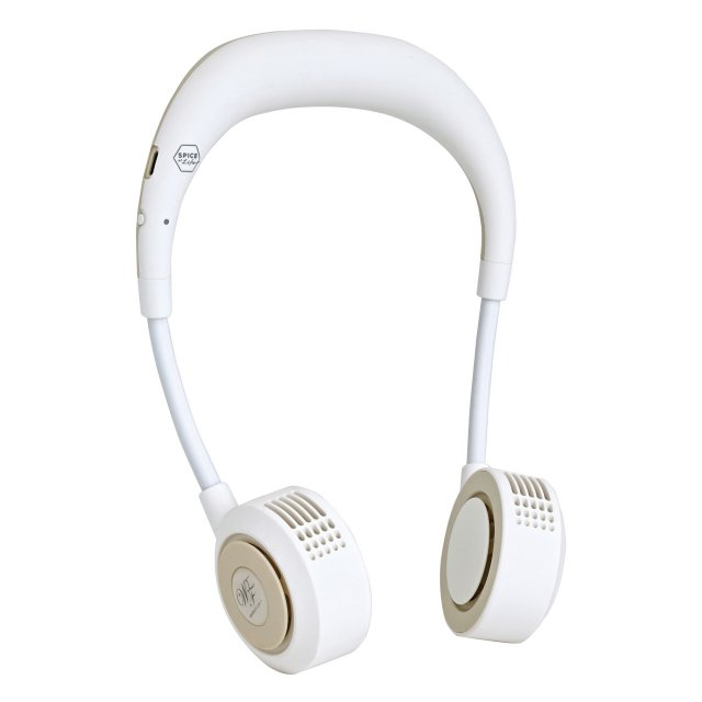 スパイス ダブルファン 初売り ハンズフリー 毎日続々入荷 ヨガシロッコ DFYS213 IV 首掛け 充電式ファン:アイボリー USB SPICE 携帯 扇風機