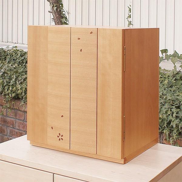 コンパクト仏壇 5点セット 舞桜 幅38cm 高さ43cm 天然木 桜 桜模様 日本製 六具足 たまゆらリン リン台 リン棒 LED  送料無料 セール 仏具 ALTAR|altar|02