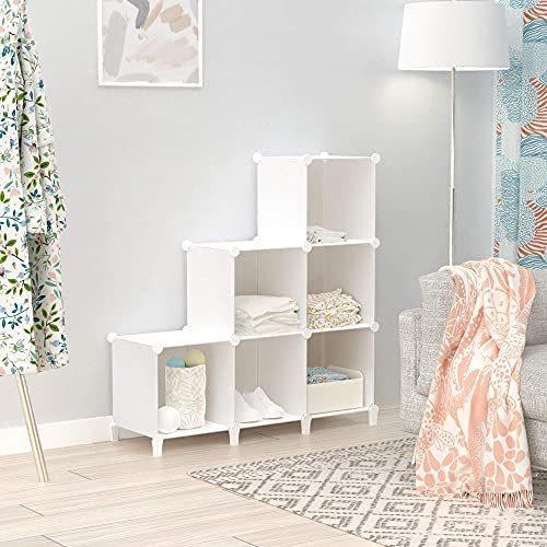 SIMPDIY 本棚 大容量 整理棚 ワイヤー収納ラック 組み立て式 衣類収納ボックス 便利な ワードローブ - 白(6ボッ? amade 02