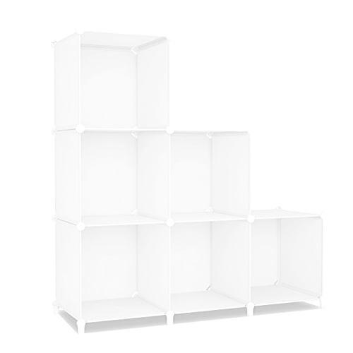 SIMPDIY 本棚 大容量 整理棚 ワイヤー収納ラック 組み立て式 衣類収納ボックス 便利な ワードローブ - 白(6ボッ? amade 03