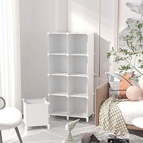 SIMPDIY 本棚 大容量 整理棚 ワイヤー収納ラック 組み立て式 衣類収納ボックス 便利な ワードローブ - 白(6ボッ? amade 04