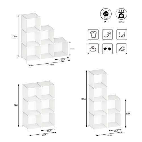 SIMPDIY 本棚 大容量 整理棚 ワイヤー収納ラック 組み立て式 衣類収納ボックス 便利な ワードローブ - 白(6ボッ? amade 05