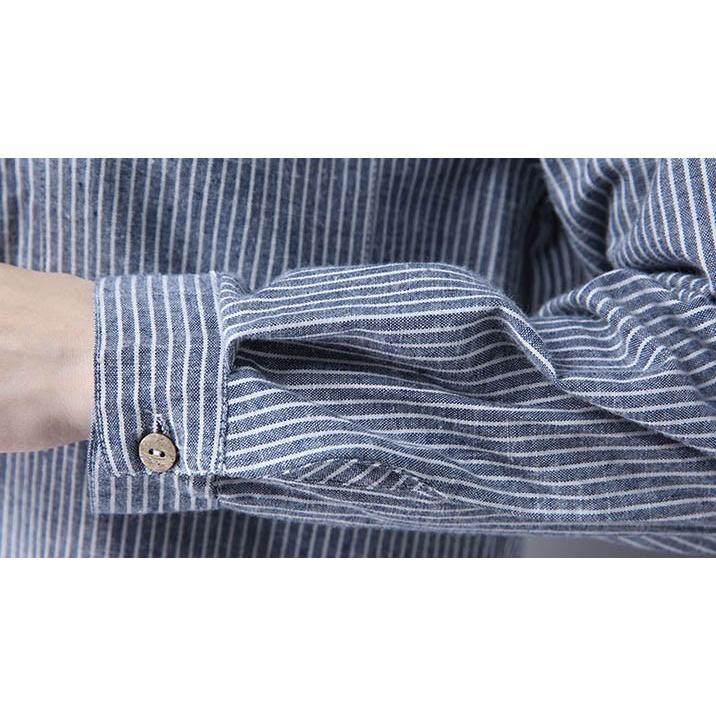 チュニック シャツ ワンピース チェックワンピース ストライプ柄 チェック柄 麻綿混紡 マリン風 フロントボタン 薄手|amanecer|19
