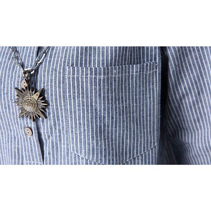 チュニック シャツ ワンピース チェックワンピース ストライプ柄 チェック柄 麻綿混紡 マリン風 フロントボタン 薄手|amanecer|20