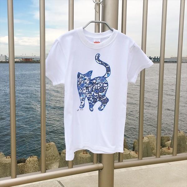琉球紅型ネコTシャツ 白 ホワイト メンズ レディース XS〜Lサイズ 沖縄 和柄  生成り かりゆしウェア 半袖 あまねこ オリジナル Tシャツ|amaneko|04