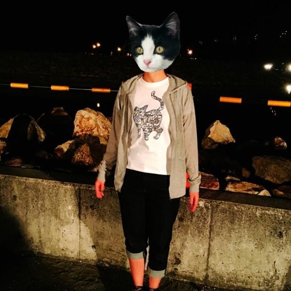 琉球紅型ネコTシャツ 白 ホワイト メンズ レディース XS〜Lサイズ 沖縄 和柄  生成り かりゆしウェア 半袖 あまねこ オリジナル Tシャツ|amaneko|06