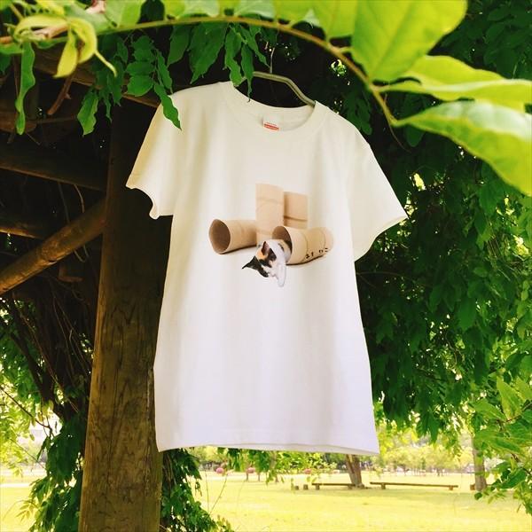 トイレットペーパーの芯 猫Tシャツ XS〜Lサイズ 白 ホワイト メンズ レディース 白黒 厚手 ユニーク 三毛猫 子猫 パロディ|amaneko|02