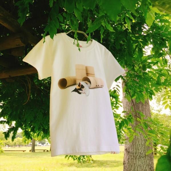 トイレットペーパーの芯 猫Tシャツ XS〜Lサイズ 白 ホワイト メンズ レディース 白黒 厚手 ユニーク 三毛猫 子猫 パロディ|amaneko|03