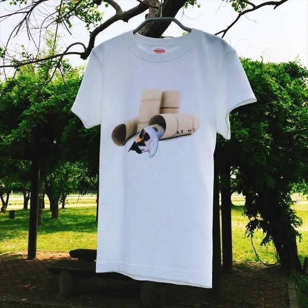 トイレットペーパーの芯 猫Tシャツ XS〜Lサイズ 白 ホワイト メンズ レディース 白黒 厚手 ユニーク 三毛猫 子猫 パロディ|amaneko|04