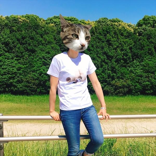 トイレットペーパーの芯 猫Tシャツ XS〜Lサイズ 白 ホワイト メンズ レディース 白黒 厚手 ユニーク 三毛猫 子猫 パロディ|amaneko|05
