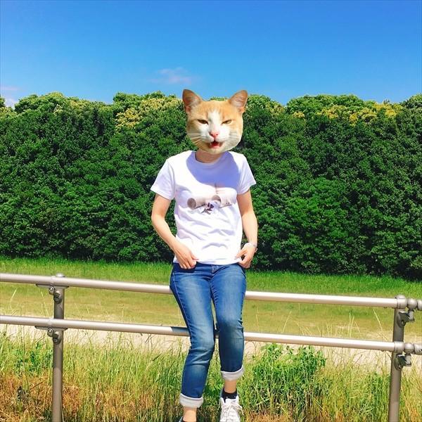 トイレットペーパーの芯 猫Tシャツ XS〜Lサイズ 白 ホワイト メンズ レディース 白黒 厚手 ユニーク 三毛猫 子猫 パロディ|amaneko|06