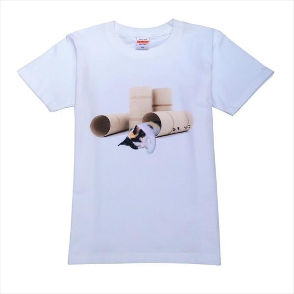 トイレットペーパーの芯 猫Tシャツ XS〜Lサイズ 白 ホワイト メンズ レディース 白黒 厚手 ユニーク 三毛猫 子猫 パロディ|amaneko|07