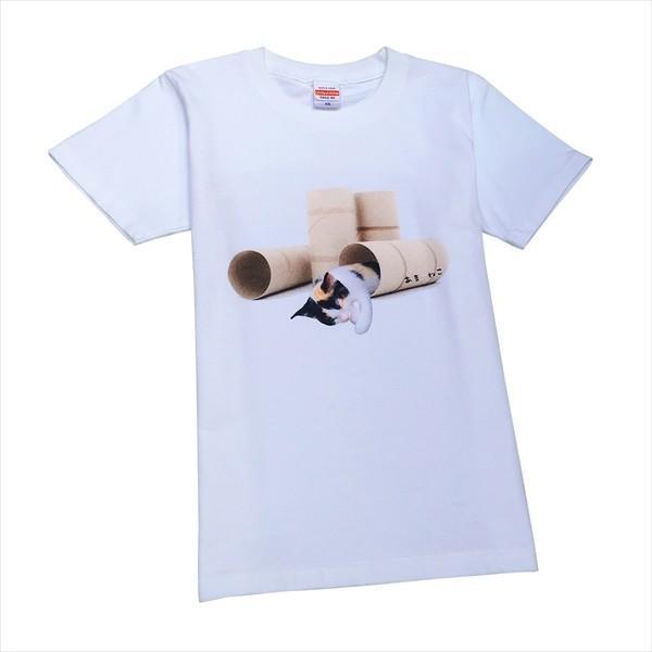 トイレットペーパーの芯 猫Tシャツ XS〜Lサイズ 白 ホワイト メンズ レディース 白黒 厚手 ユニーク 三毛猫 子猫 パロディ|amaneko|08