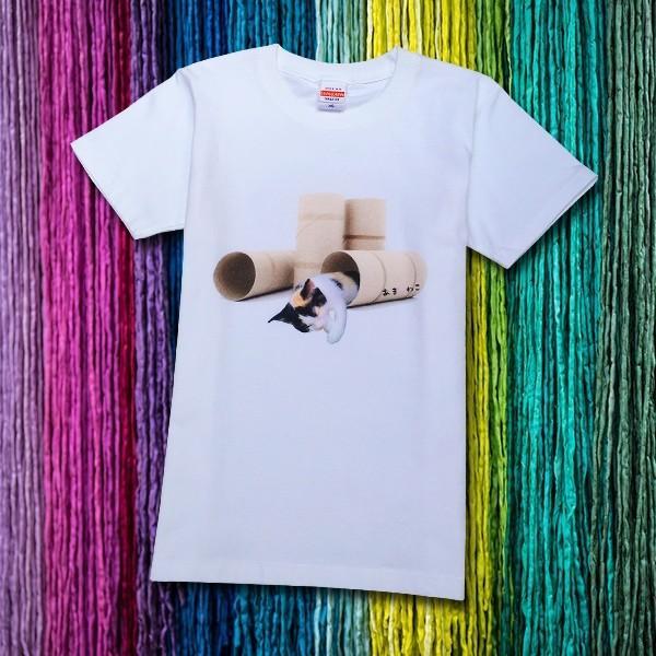 トイレットペーパーの芯 猫Tシャツ XS〜Lサイズ 白 ホワイト メンズ レディース 白黒 厚手 ユニーク 三毛猫 子猫 パロディ|amaneko|09