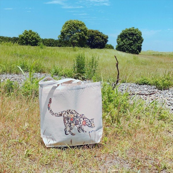 琉球紅型 猫トートバッグ Lサイズ 20リットル 大容量 沖縄 厚手 エコバッグ ショッピングバッグ 綿100% amaneko 04