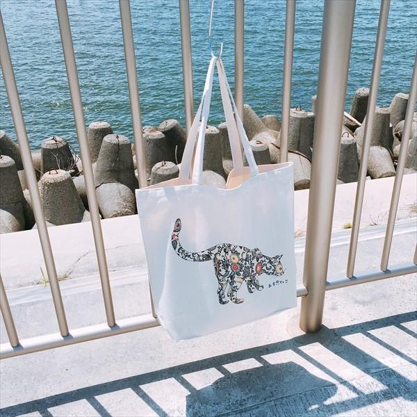 琉球紅型 猫トートバッグ Lサイズ 20リットル 大容量 沖縄 厚手 エコバッグ ショッピングバッグ 綿100% amaneko 05