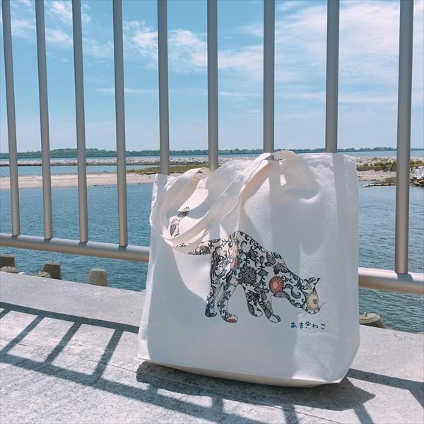 琉球紅型 猫トートバッグ Lサイズ 20リットル 大容量 沖縄 厚手 エコバッグ ショッピングバッグ 綿100% amaneko 06