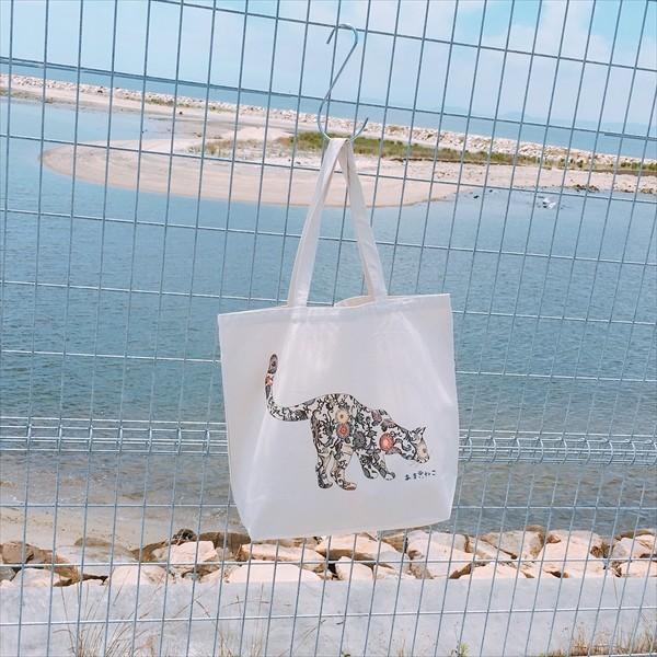 琉球紅型 猫トートバッグ Lサイズ 20リットル 大容量 沖縄 厚手 エコバッグ ショッピングバッグ 綿100% amaneko 07