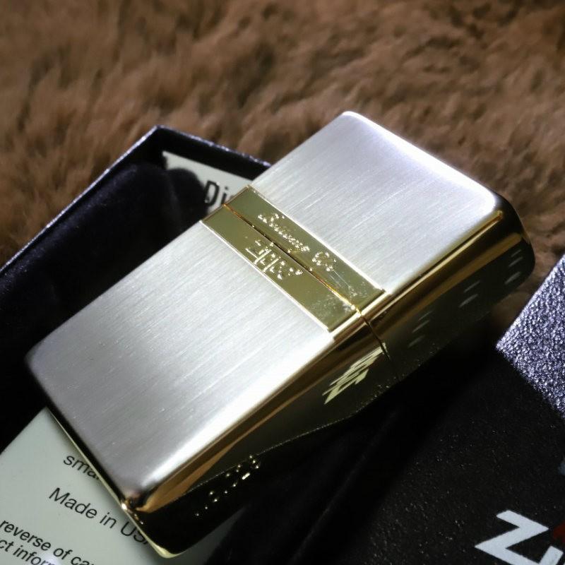 【限定ZIPPO】 ミラーライン ボトムズアップ シルバーサテン&ゴールド 金 銀 限定シリアルナンバー入り BUPミラーライン レアジッポ 送料無料